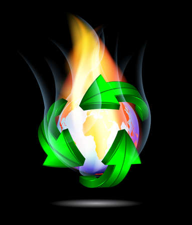 Burning globe - Abstract global warming illustration Vector