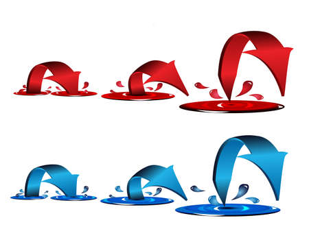 Blue and red arrows with splash and drops Vector