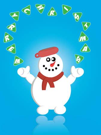 iceflower: Christmas card with snowman