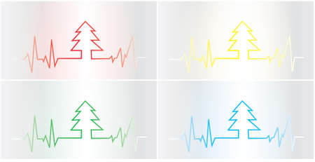 Christmas tree cardiogram - four colors Vector