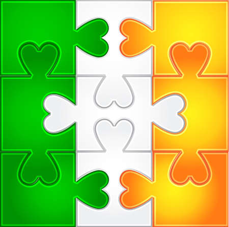 Puzzle from irish colors Vector