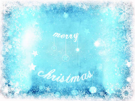 iceflower: Blue Christmas card Stock Photo