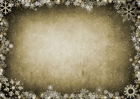 gold brown: Frame from snowflakes with space for your text