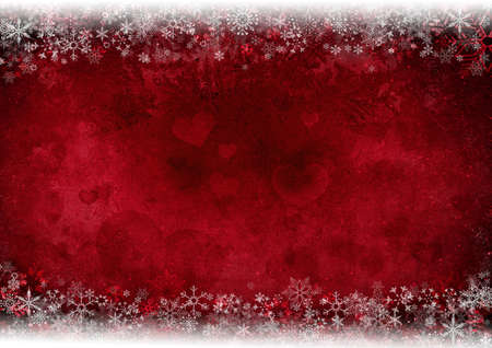 iceflower: Frame from snowflakes - background from heart shapes