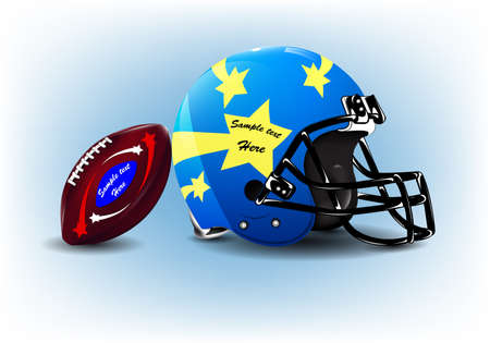 american football helmet: American football helmet and ball or creative speech bubbles Illustration