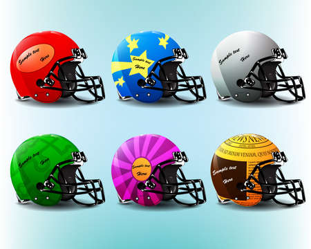 American football helmet set or creative speech bubble set Vector