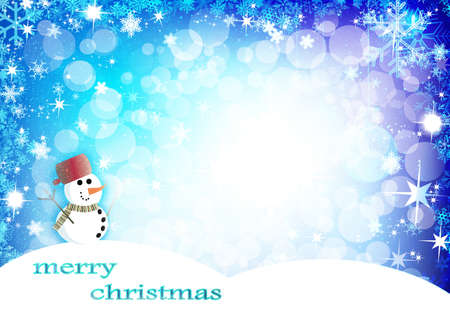 Christmas background with snowman photo