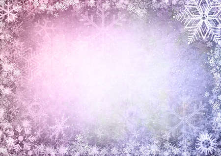 purple stars: Frame from snowflakes with space for your text