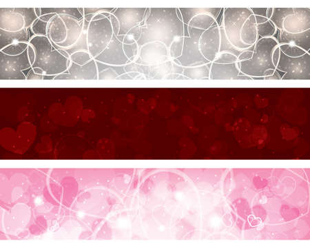 Set of three banners with hearts