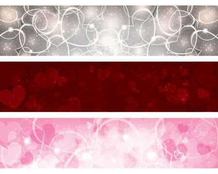 Set von drei Fahnen mit Herz Standard-Bild