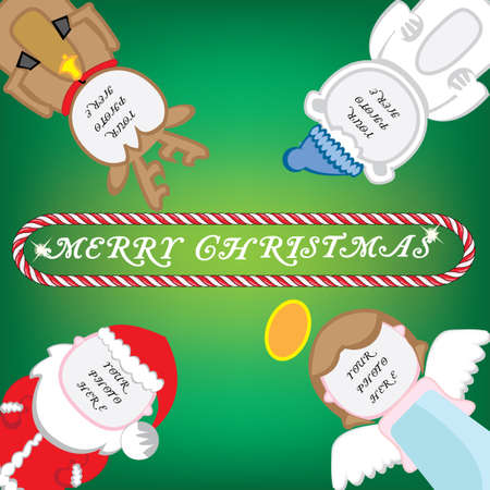 Christmas card with space for your photos  Vector