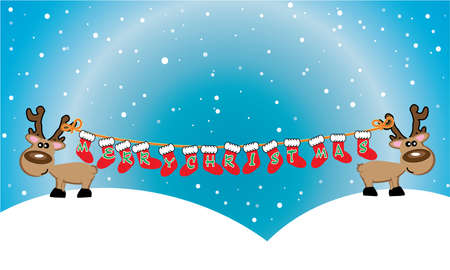 Christmas background with reindeer - and place for your text