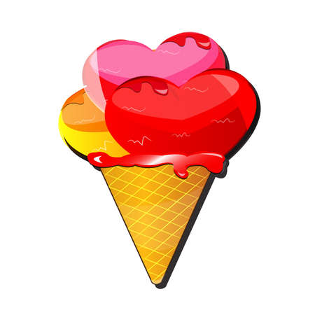 Special Valentines day card  Ice cream with heart shape balls Stock Vector - 17422448