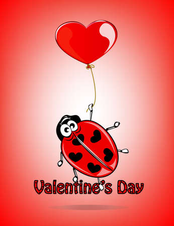 Valentines day card with lovely ladybug Vector