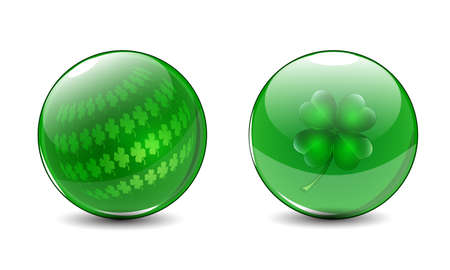 Glass balls with clovers inside  St  Patricks day symbols  Vector