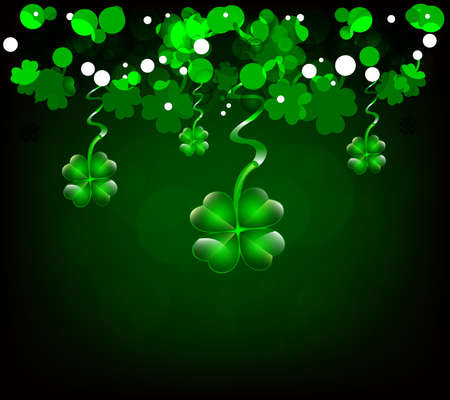 St  Patricks day background or card with clovers Stock Vector - 17500482