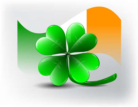 St  Patricks day card - clover shape and irish flag  Vector