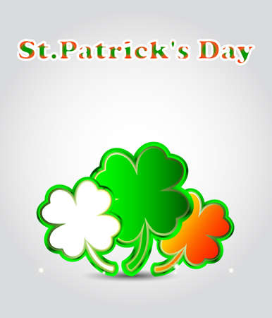 St Patricks day card with clovers in irish color or clover shape speech bubbles Stock Vector - 17501561