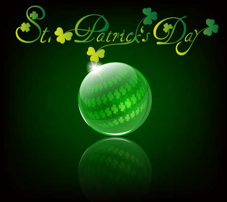 St Patricks day card with clovers in a glass ball Vector