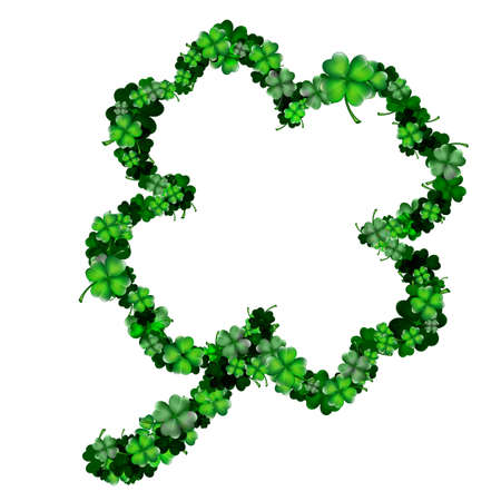Clover shape from lots of small and big clovers Stock Vector - 17500487