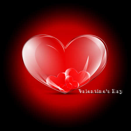 Elegant Valentines day card with glass hearts Stock Vector - 17571711