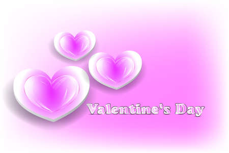 Pink Valentines day card with glossy hearts Stock Vector - 17510130