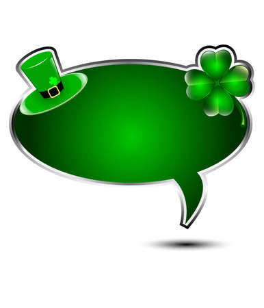 Elegant glossy speech bubble with St Patricks day elements  Stock Vector - 17638370