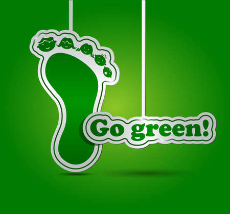 go green icons: Go green card - ecology concept