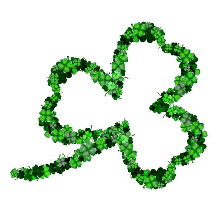 irish background: Three leaf clover from more clovers, isolated on white Illustration