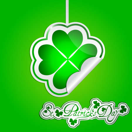 St Patricks day card with hanging stickers Stock Vector - 17885400