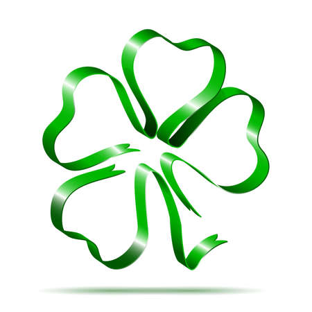 Four leaf clover shape from ribbon Vector