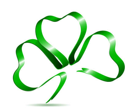 st patricks day: Three leaf clover shape from ribbon Illustration