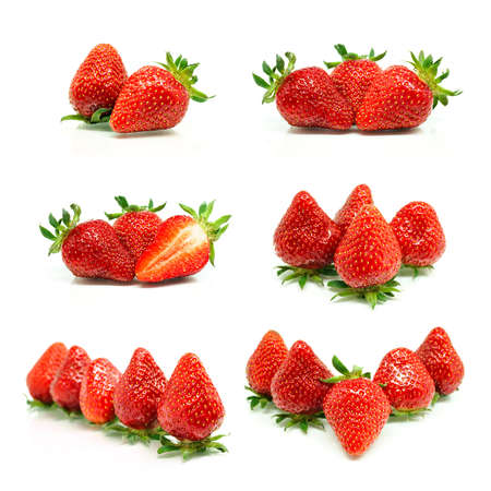 lit collection: Set of a fresh strawberries isolated on white background Stock Photo