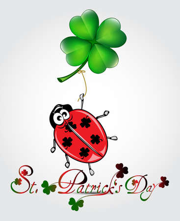 patrik day: St Patricks day card with ladybug and clover balloon