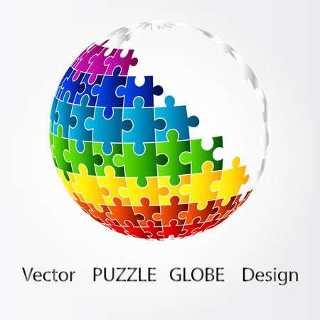 3D puzzle globe design Vector