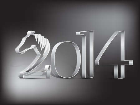 Year of the horse - New year s card 2014 Vector