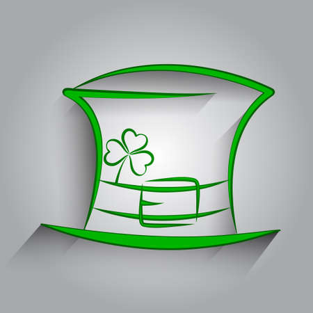 vector illustration of green St  Patricks Day hat with clover Vector