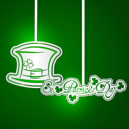 St  Patricks Day card with hanging stickers Vector