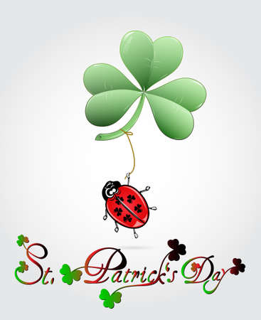 St  Patricks Day card with ladybug and big heart Vector