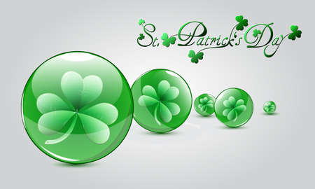 St  Patricks Day card with clovers in glass balls Vector