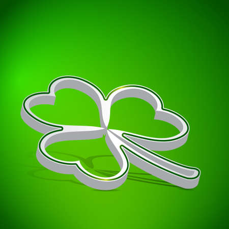 Three leaf clover shape from paper on green background Vector
