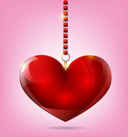 st valentin: Hanging heart ornament Illustration