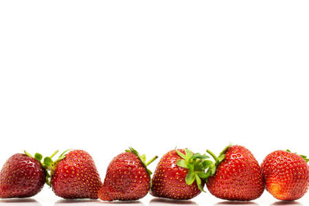 Red strawberries in a row over white photo