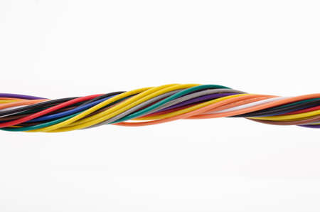 multicore: Multicolored computer cable isolated on white background Stock Photo