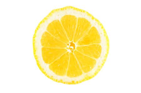 squeeze shape: Slice of lemon isolated on white background Stock Photo
