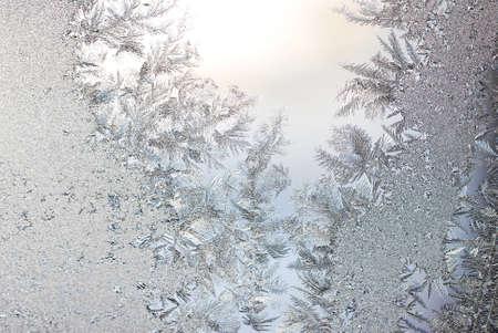 iceflower: Ice flowers on glass Stock Photo