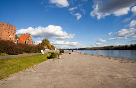 torun: Boulevard -Vistula river in Torun,Poland Stock Photo