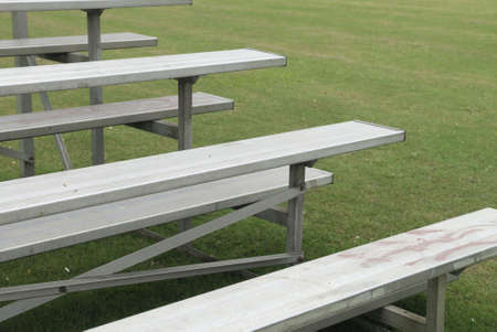 grandstand: Empty benches forming part of a grandstand