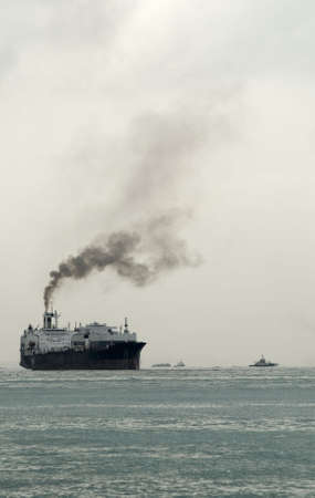 exhaust: Ship with thick black sooty exhaust