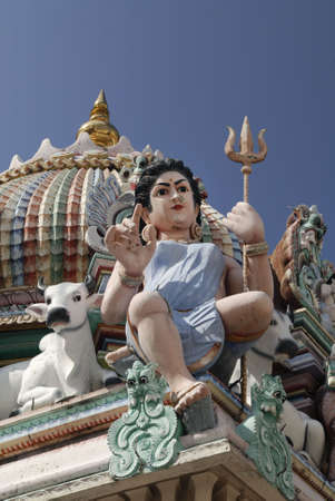 mariamman: Sculptures in Sri Mariamman Temple. The oldest Hindu temple in Singapore. Built in 1827 along Telok Ayer Street in the Chinatown district.  It is a National Monument